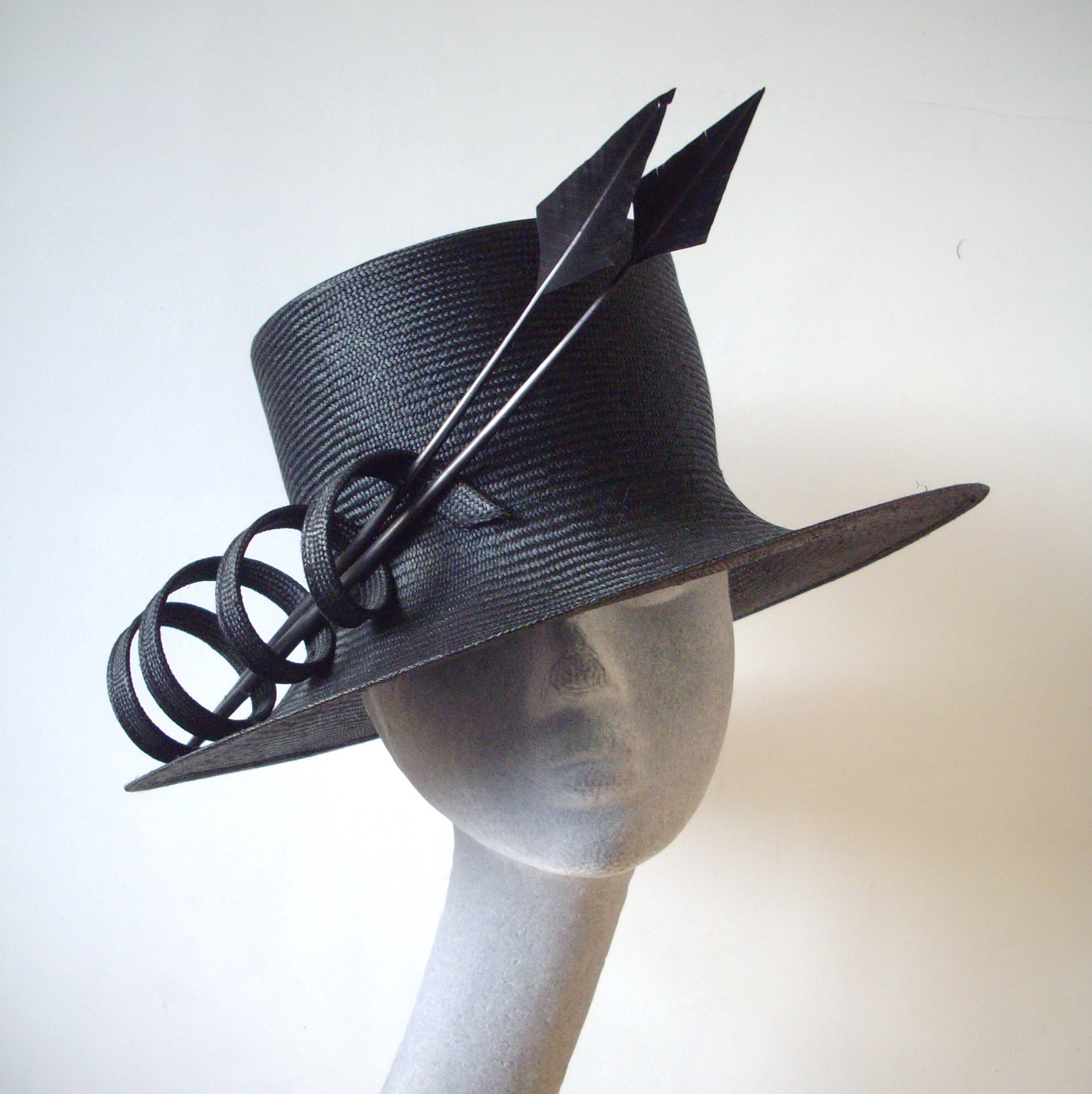 Black Straw Reworked Hat - Before