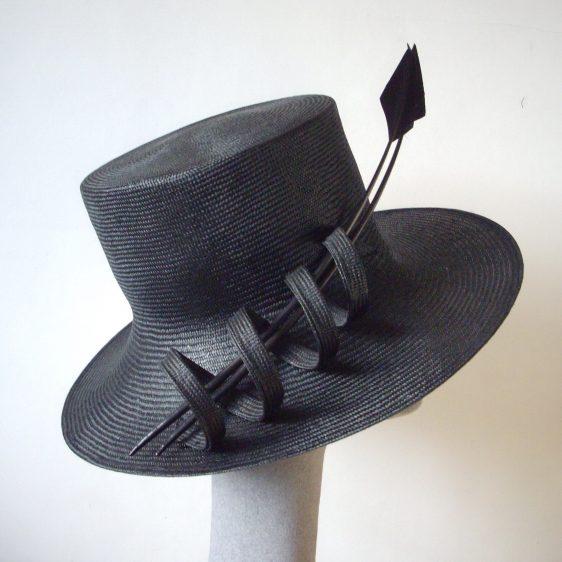 Black Straw Reworked Hat - Before