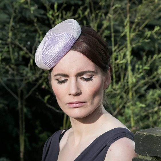 Lilac Straw and Silk Button Hat