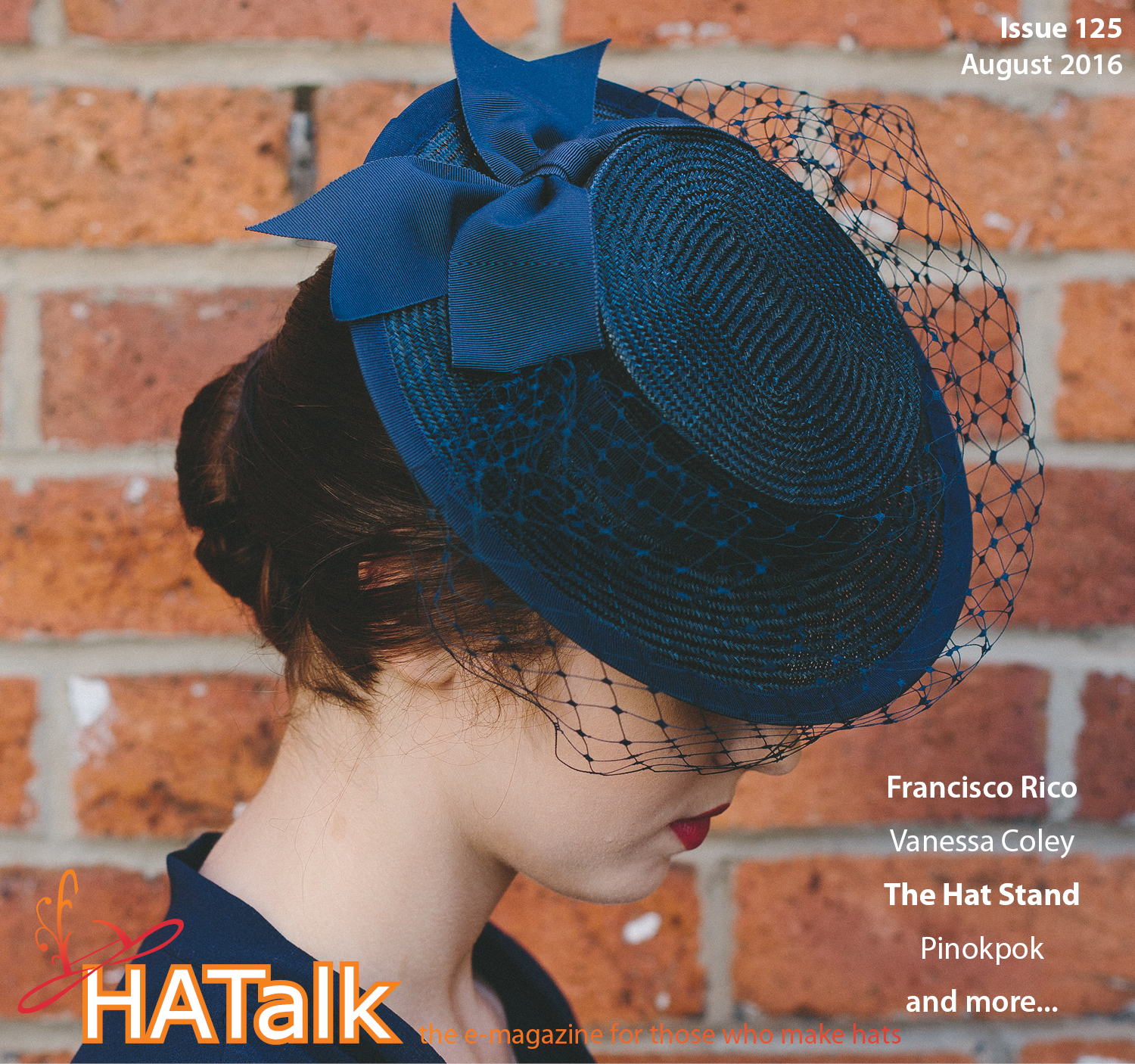 HATalk Magazine Front Cover featuring navy blue boater hat made by Imogen's Imagination