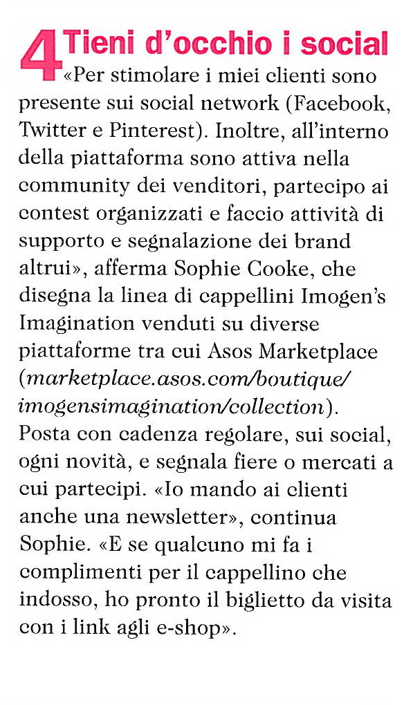 Imogen's Imagination Italian Cosmopolitan Press Feature in 2012