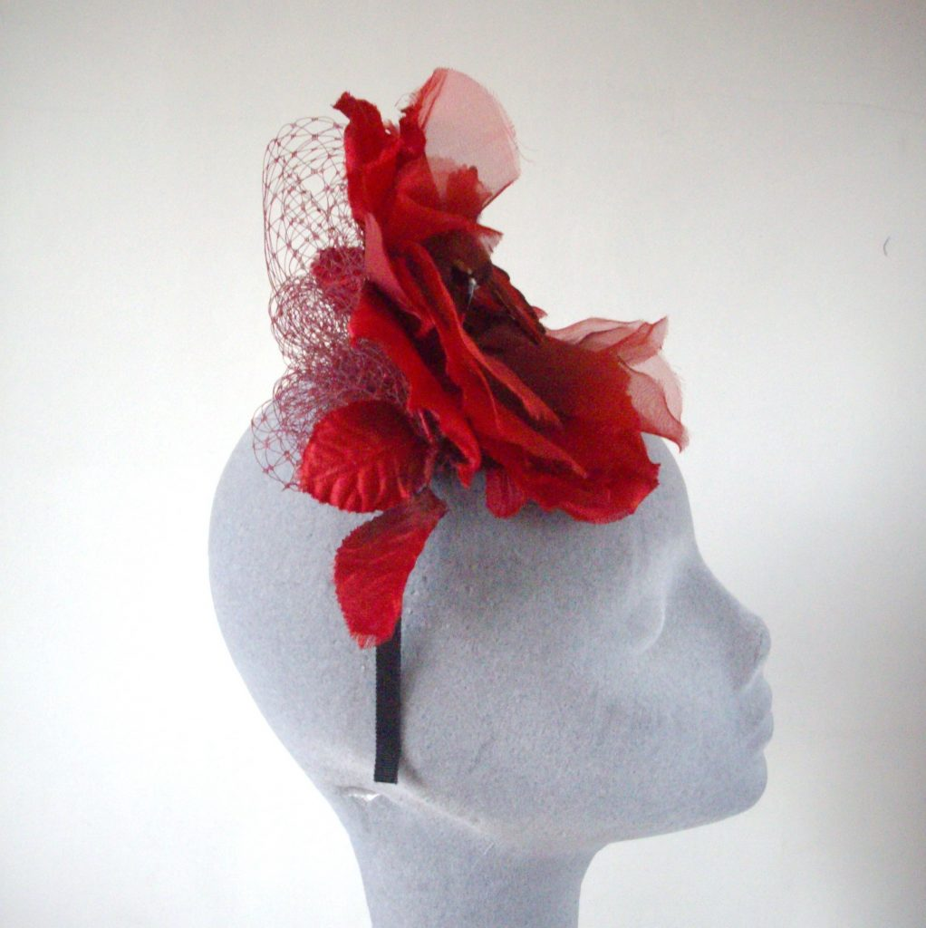 Red Flower and Hummingbird Fascinator