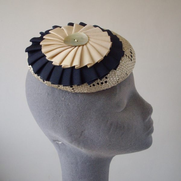 Natural Straw Hat with Navy Ribbon Rosette