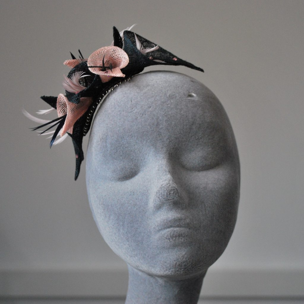 Navy and Pink Sinamay Lily Fascinator