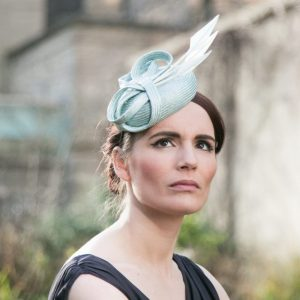 Blue Straw Button Hat with Arrow Feathers