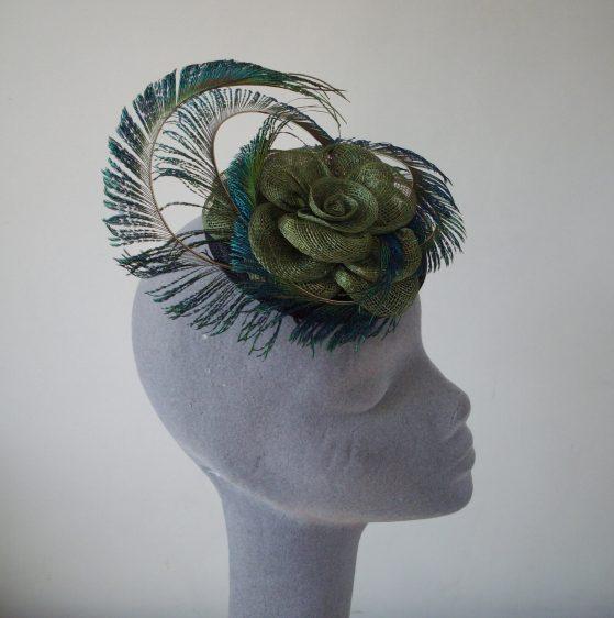 Green Peacock Feather Fascinator
