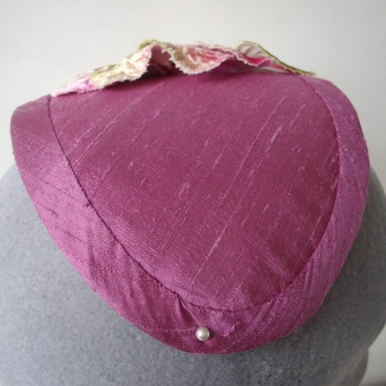 Pink Silk Half Hat with Leaves and Orchid Flowers