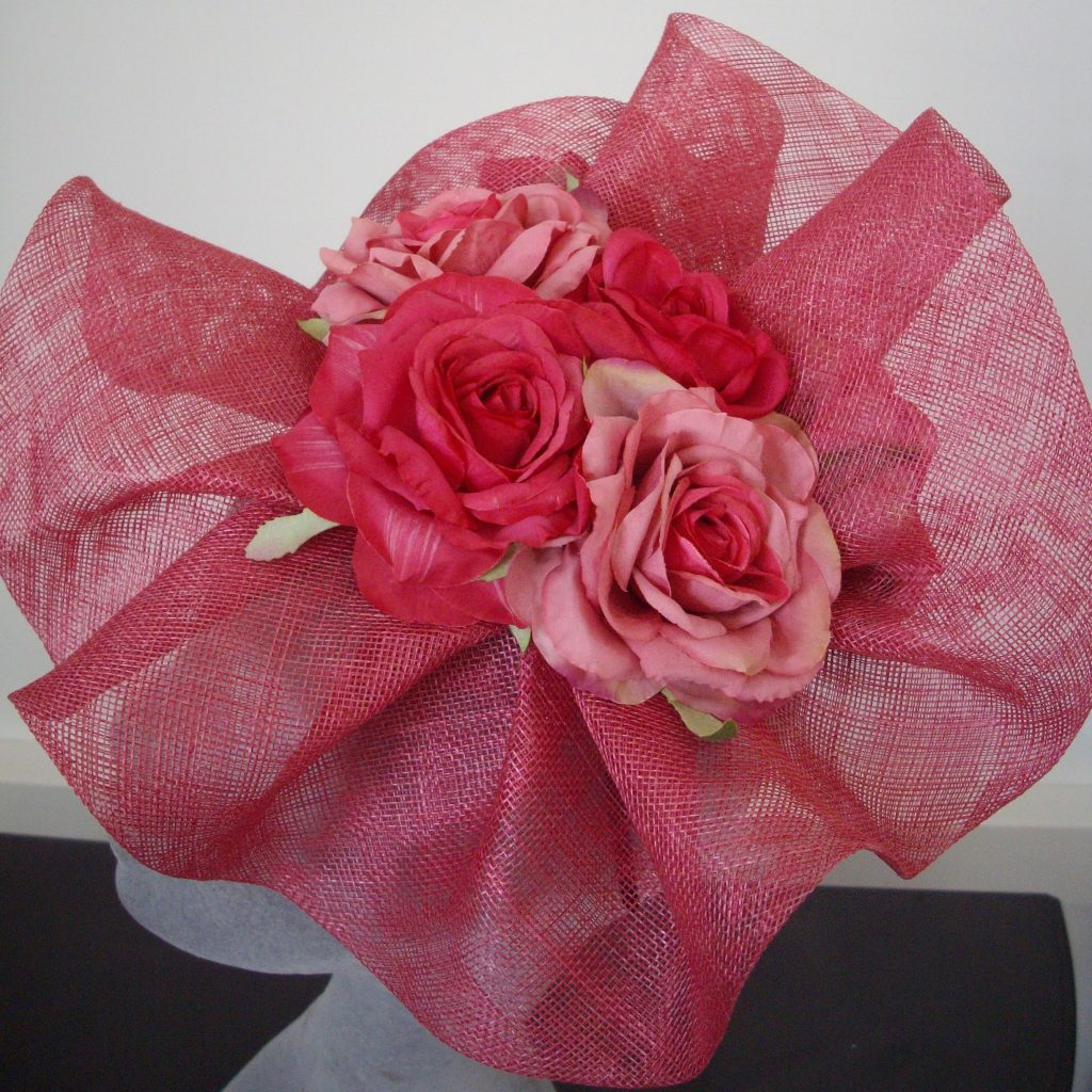 Pink Sinamay Wave and Rose Fascinator