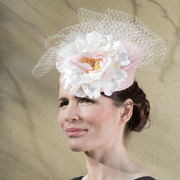 Pink Straw Pill Box Hat with Veiling and Flower