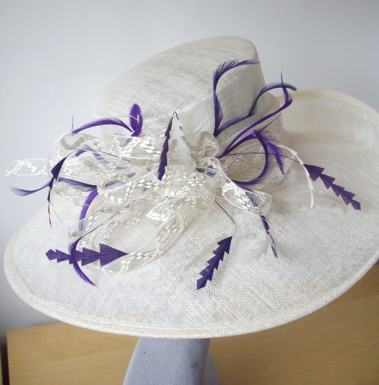 Purple Feather Re-trimmed Hat