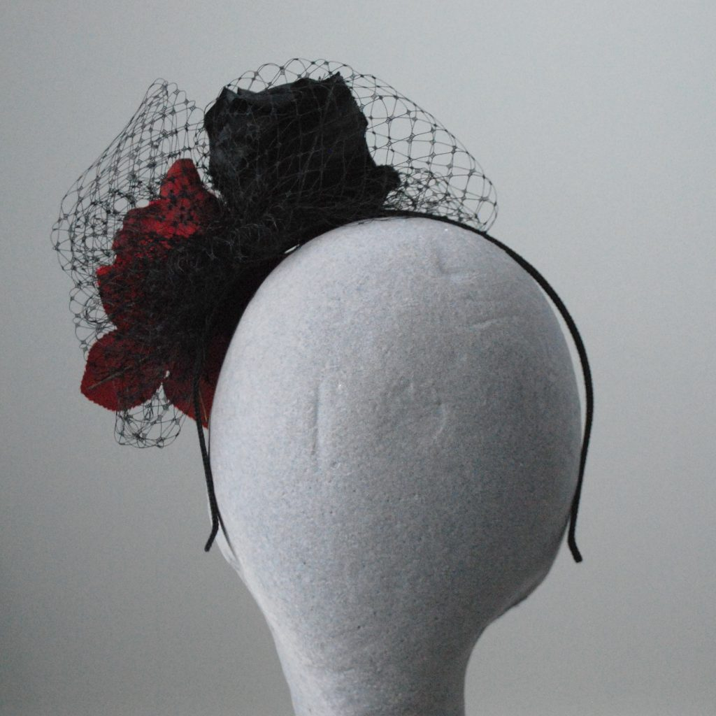 Black and Red Rose Fascinator