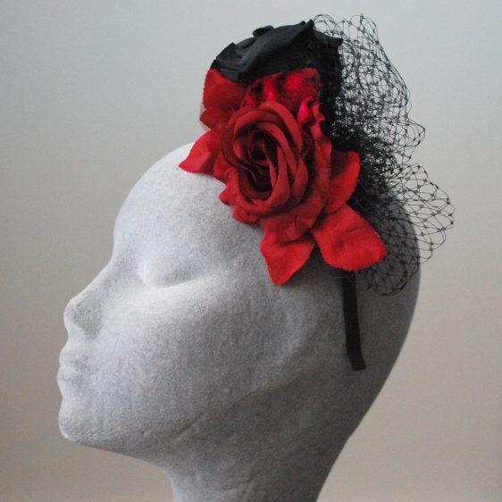 Black and Red Rose Fascinator