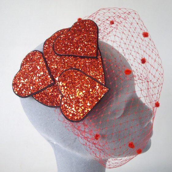 Red Glitter Heart Fascinator with Birdcage Veil
