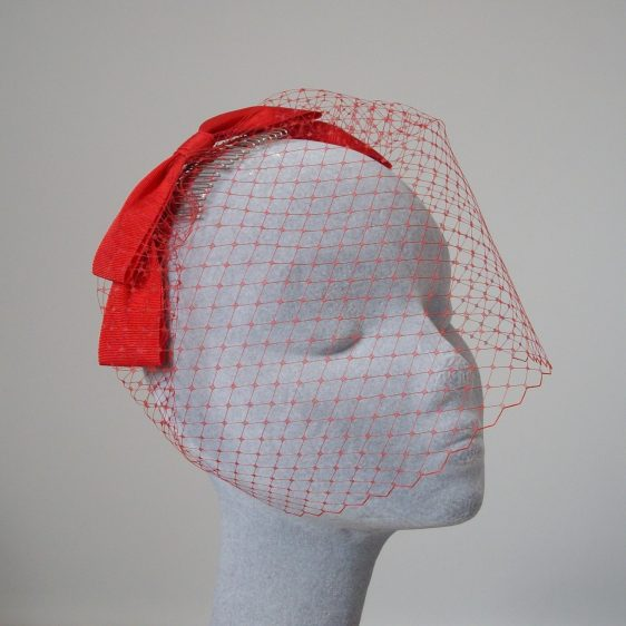 Red Ribbon Bow Fascinator with Birdcage Veil
