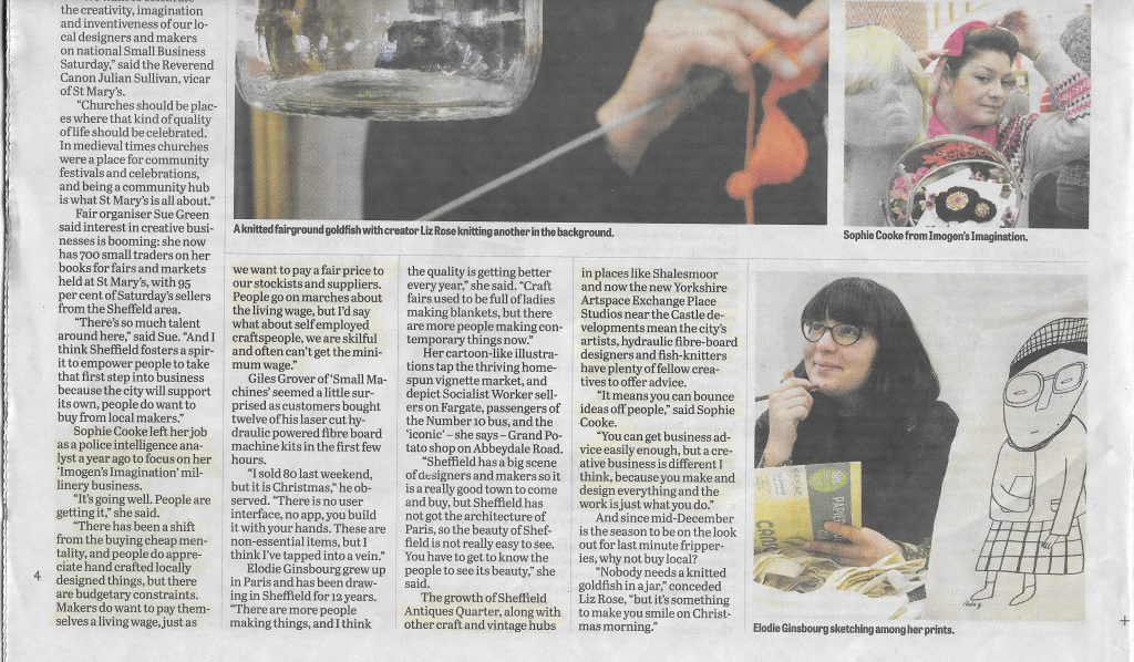 Imogen's Imagination Sheffield Telegraph Dec 14