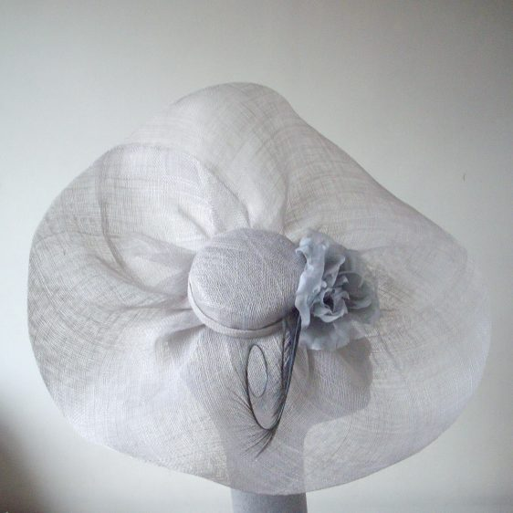 Grey Sinamay Bias Brimmed Hat