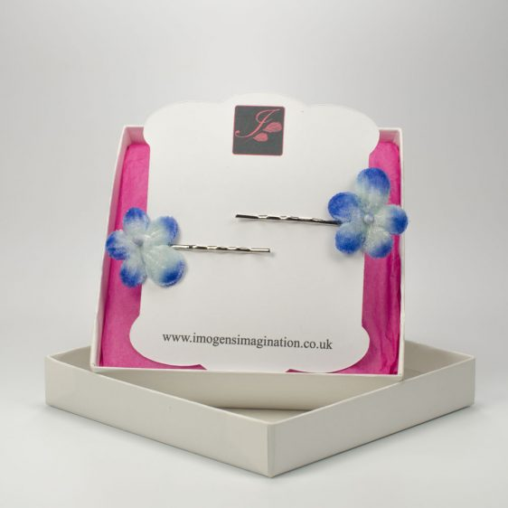 Blue Blossom Flower Hair Clips box