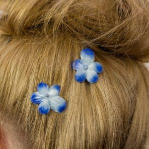 Blue Blossom Flower Hair Clips detail