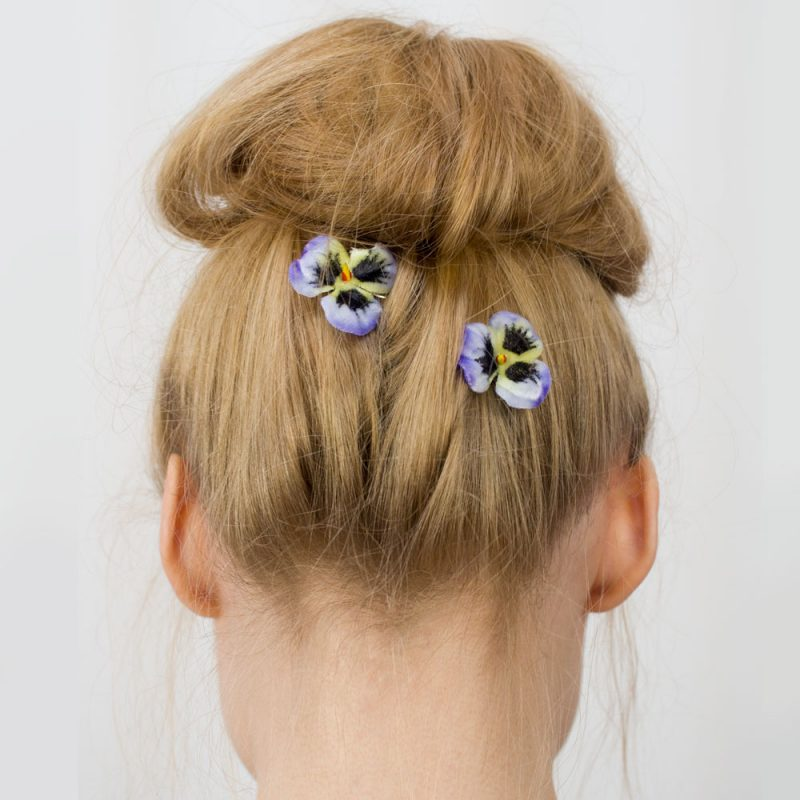 Blue Pansy Flower Hair Clips
