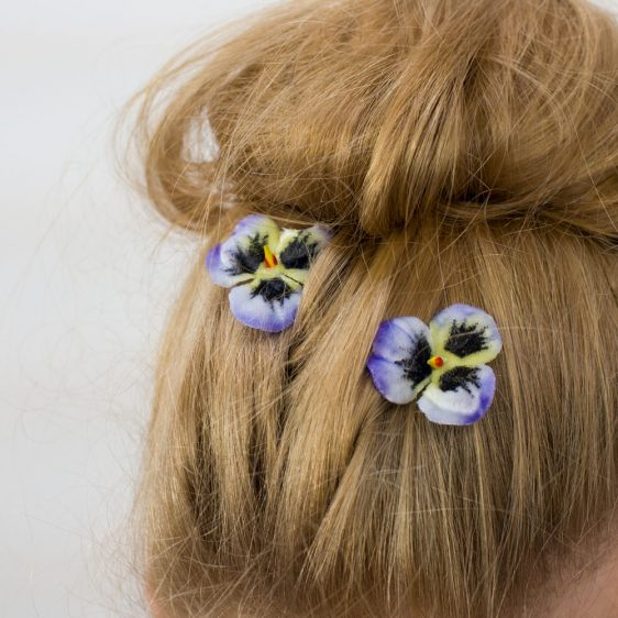 Blue Pansy Flower Hair Clips detail