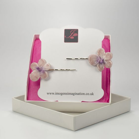 Lilac Blossom Flower Hair Clips box