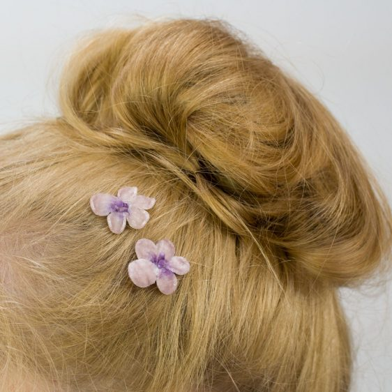 Lilac Blossom Flower Hair Clips detail