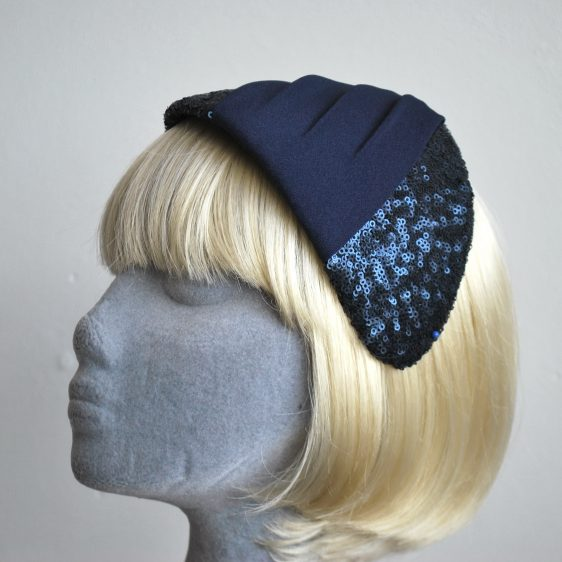 Navy Sequin and Pleated Crepe Half Hat - Side