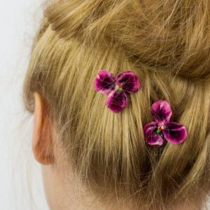 Pink Pansy Flower Hair Clips detail