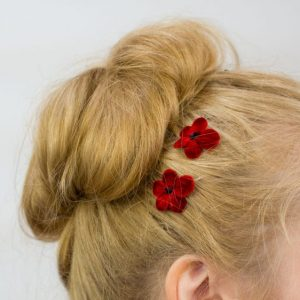 Red Blossom Flower Hair Clips detail