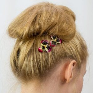 Red Pansy Flower Hair Clips