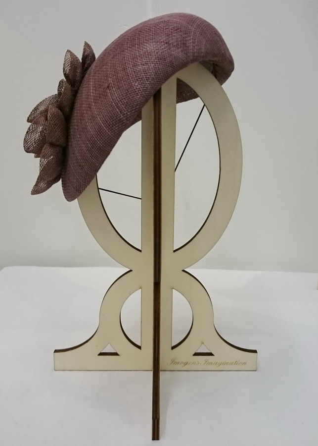 Taupe Sinamay Sloped Beret for Hatstock - front
