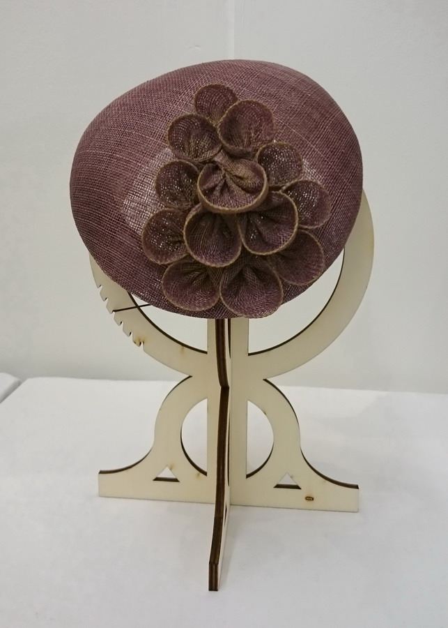 Taupe Sinamay Sloped Beret with Gold Details