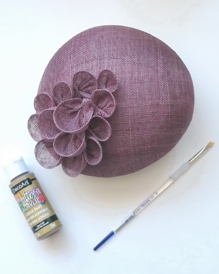 Taupe Sinamay Sloped Beret with paint and paint brush