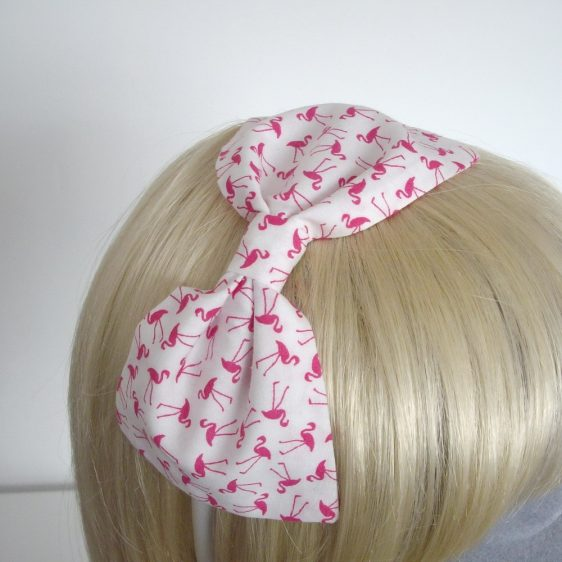 Pink Flamingo Bow Headband detail 2
