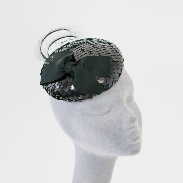 Black Sequin Button Hat with Ribbon Bow and Feathers angle