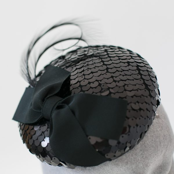 Black Sequin Button Hat with Ribbon Bow and Feathers detail