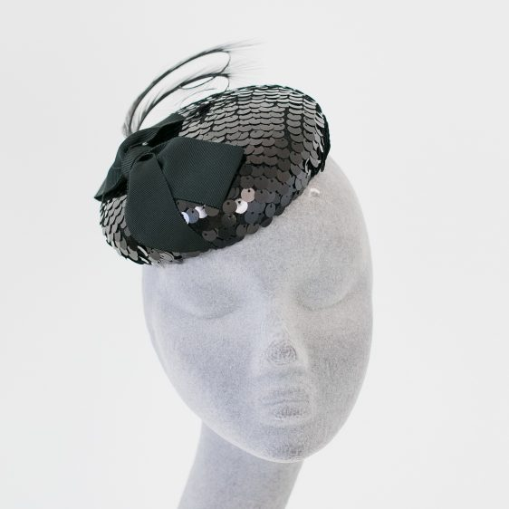 Black Sequin Button Hat with Ribbon Bow and Feathers front