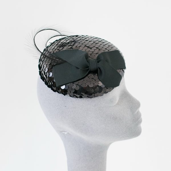 Black Sequin Button Hat with Ribbon Bow and Feathers side