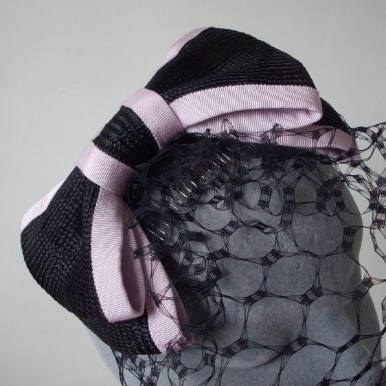 Black Straw Bow with Birdcage Veil