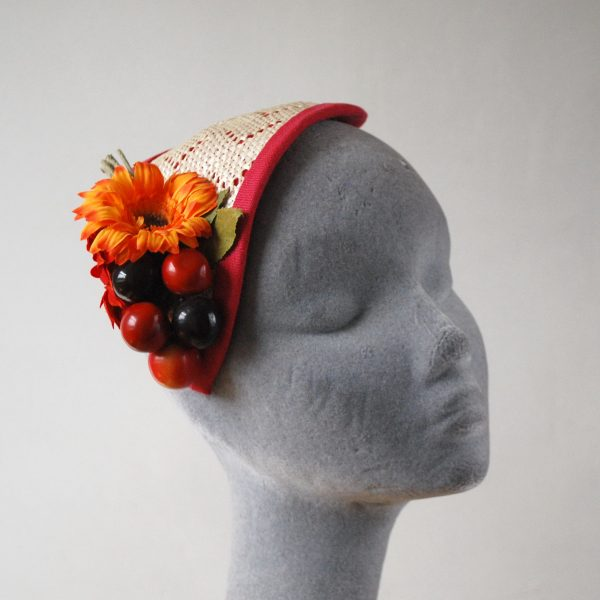 Natural Straw Half Hat with Cherries and Red-Orange Flowers angle