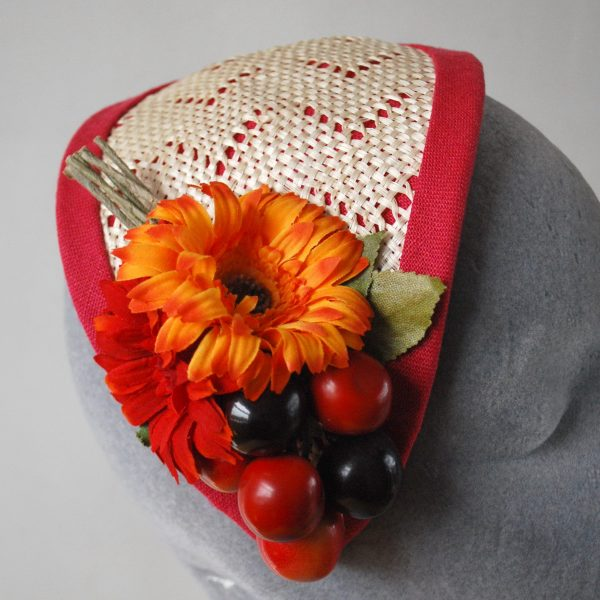Natural Straw Half Hat with Cherries and Red-Orange Flowers detail