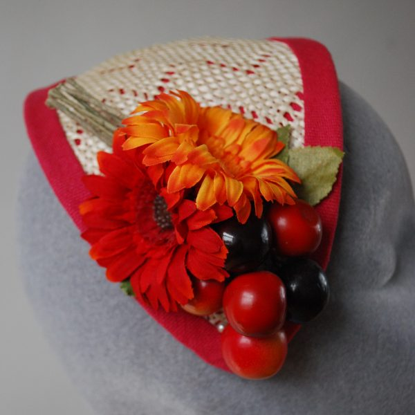 Natural Straw Half Hat with Cherries and Red-Orange Flowers detail 2
