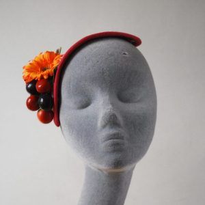 Natural Straw Half Hat with Cherries and Red-Orange Flowers front