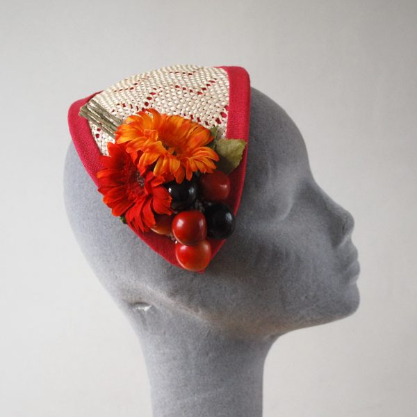 Natural Straw Half Hat with Cherries and Red-Orange Flowers side
