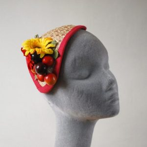 Natural Straw Half Hat with Red-Yellow Flowers and Cherries angle