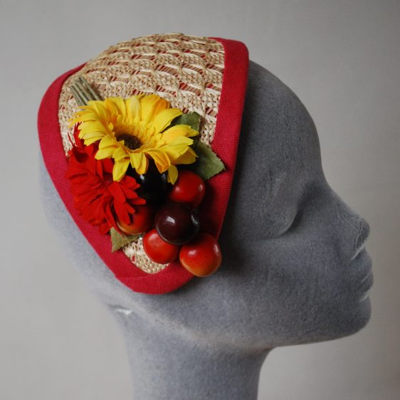 Natural Straw Half Hat with Red-Yellow Flowers and Cherries detail