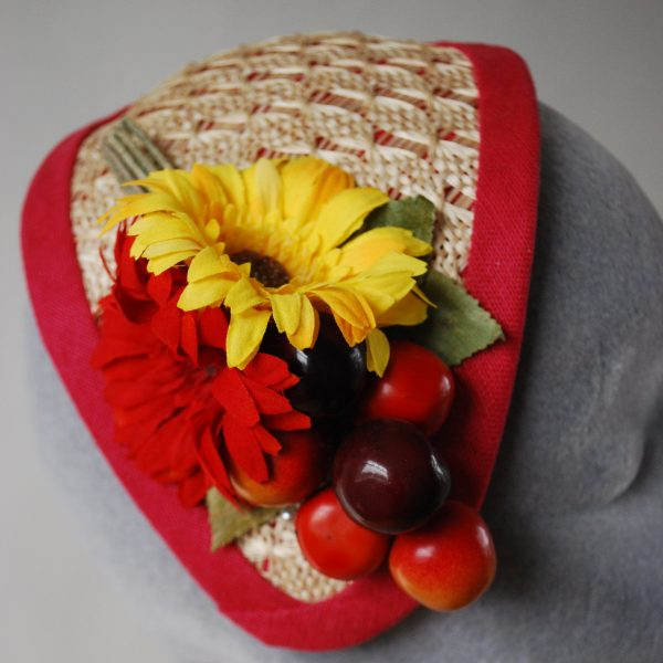 Natural Straw Half Hat with Red-Yellow Flowers and Cherries detail 2