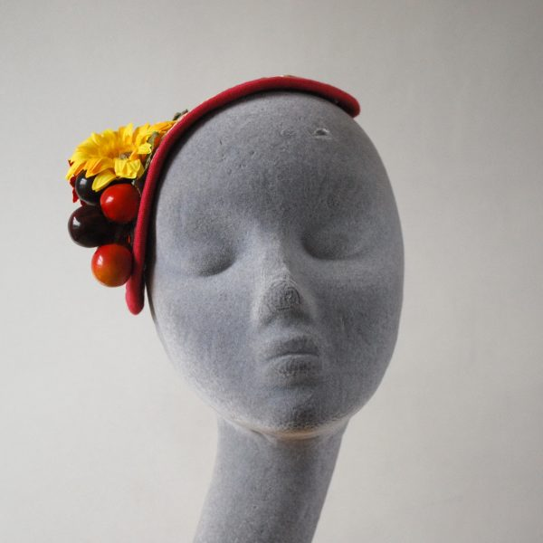 Natural Straw Half Hat with Red-Yellow Flowers and Cherries front