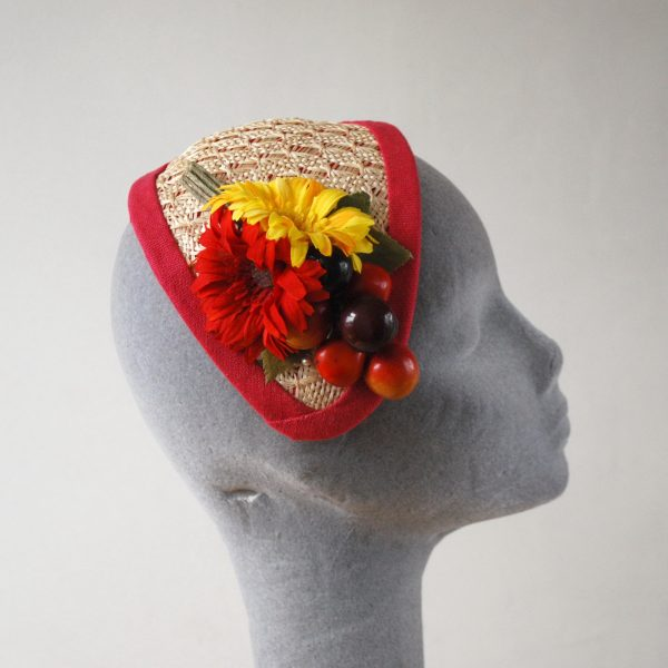 Natural Straw Half Hat with Red-Yellow Flowers and Cherries side