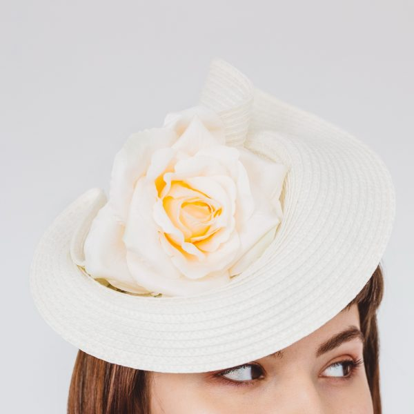 Ivory Percher Hat with Rose Flower